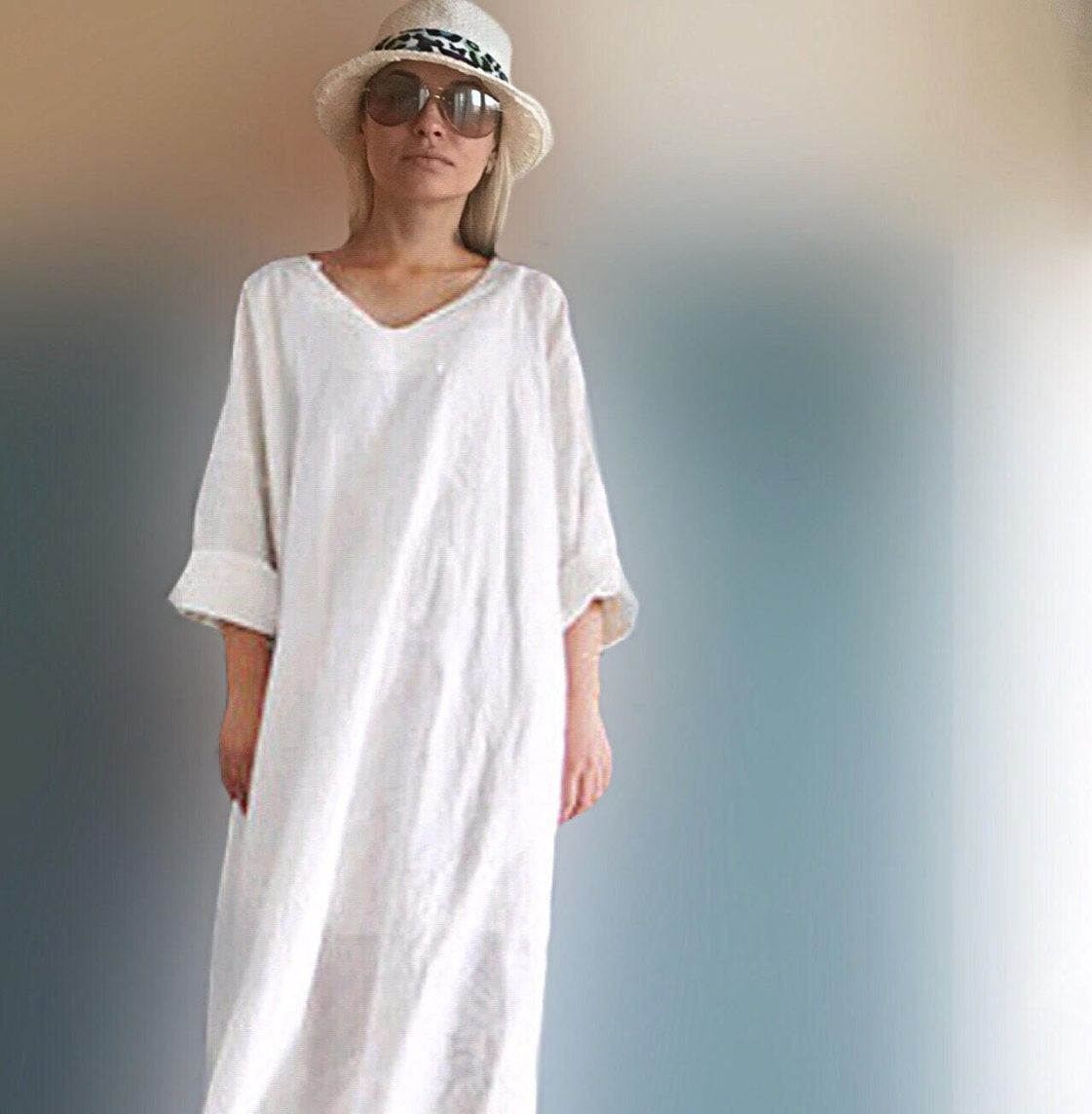 Linen dress women plus size clothing white by for White linen ladies shirt