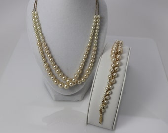 Retro Napier Pearl necklace & bracelet set, Demi Parure set, goldtone pearl necklace, June Birthstone, prom jewelry, bridal jewelry