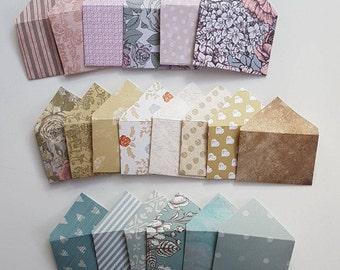Set of 25 Mini Envelopes    Random Assortment    Scrapbook envelopes    Gift Envelopes    Tiny envelopes    Money Envelopes