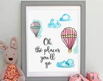 Hot Air Balloon, Oh The Places You'll Go, Nursery Decor, Watercolor Decor, Nursery Print, Boys Room Art, Kids Room Decor, Kids Room Wall Art
