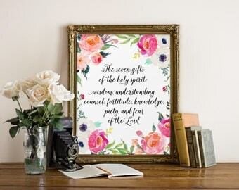 Catholic watercolor etsy scripture art the seven gifts of the holy spirit confirmation gift christian quote negle Choice Image