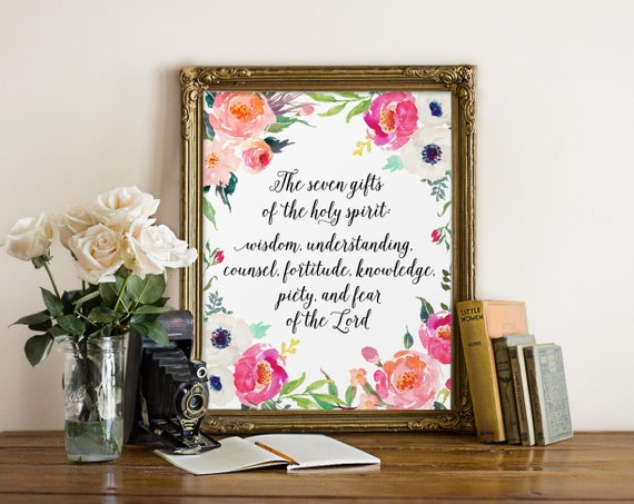 Scripture art the seven gifts of the holy spirit scripture art the seven gifts of the holy spirit confirmation gift christian quote catholic art scripture quote watercolor art prints negle Images
