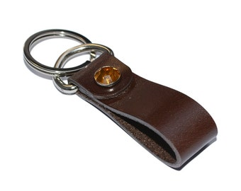 Brown Leather Keychain / Leather Key Fob, Mens Keychain, Leather Key Holder / Key Ring, Leather Key Wristlet, Key Ring Holder