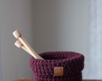 Ready to ship! Small crocheted foldover basket // featured in Claret