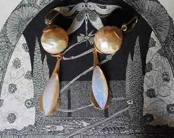 Gold toned Art Deco earrings, flapper, vintage assemblage handmade in France, glass white opal dangles, long drops/064