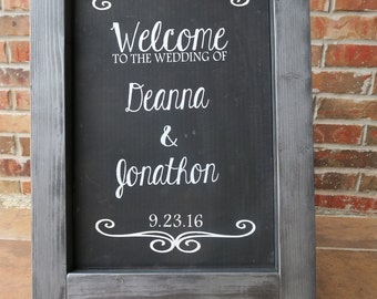 Personalized Wedding Chalkboard Easel - Wedding Easel - Chalkboard Easel - Custom Wedding Chalkboard