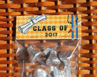 Nurse Graduation Party | Nurse Party Favors | Nursing School Graduation Treat Bags Toppers | Nursing Grad | Nursing Graduation Bags - Qty 12