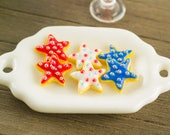 Made to Order Miniature Patriotic Star Cookies - 1:12 Dollhouse Miniature