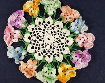 "VINTAGE CROCHETED DOILY One Floral Pansy Doily 9""  3D Flowered Doily 2 Available Vase Doily"