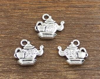 20pcs Tea Pot Charms Antique Silver Tone Double Side 14x15mm - SH427