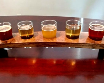Beer Flight Tray Made From Reclaimed Whiskey Barrel Stave ~ 5 Glass