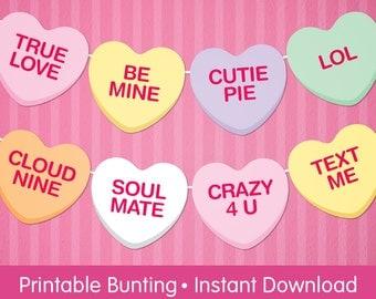 Valentine Conversation Candy Heart Bunting, Valentine Party Printable Banner