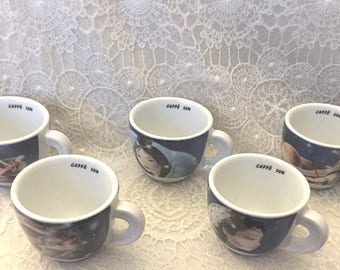 "Set of 5 espresso cups and saucers by d'ANCAP ~ ""Caffe Sun"""