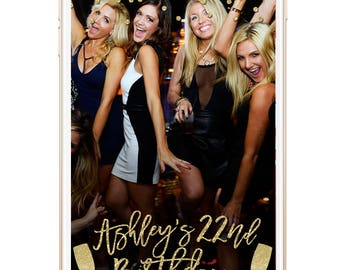 Snapchat Geofilter Birthday, Snapchat filter, birthday geofilter, snapchat geofiler, birthday filter, gold glitter filter, champagne glasses