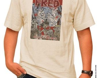 THE WALKING FRED! Comic Book Cover Parody - pre shrunk 100% cotton, short sleeve t-shirt - The Walking Dead/The Flintstones Parody