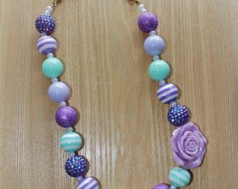 Purple and Teal Mermaid Inspired Chunky Bead Necklace