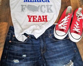 4th of July Tank top - 4th of July Shirt Women - USA Shirt - Merica F*ck Yeah Tank Top - Patriotic Womans Clothing -Cute 4th of July tank