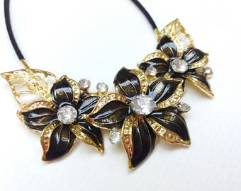 Gold and black flower leaves bib statement chunky crystal long pendant necklace collar neckpiece, Spring summer necklace, Gift for woman