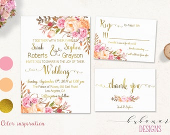 Pink Peach Wedding Invitation Suite Romantic Faux Gold Floral Bohemian Digital Wedding Invite Set Spring Printable Wedding Invite - WS040a