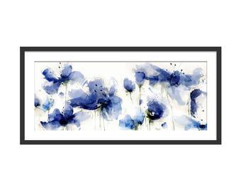 Floral Art Print. Flower Print. Flower Painting. Floral Painting. Indigo Print. Poppy Print. Wall Art. Wall Decor