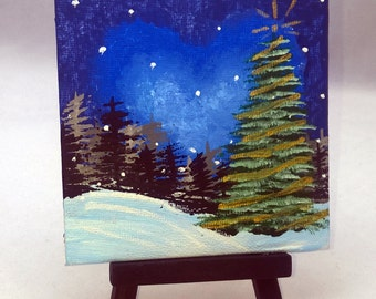 Country Christmas - Small Art Holiday Painting with  Desktop Easel 4 x 4 inch