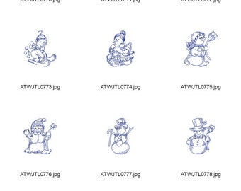 Redwork-Snowmen ( 10 Machine Embroidery Designs from ATW )
