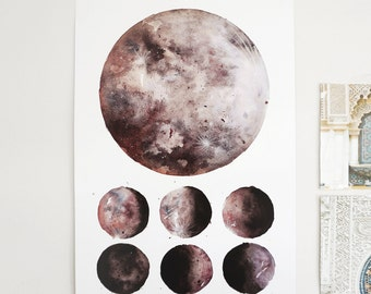 Moon Phases, Lunar Phases, Moon Art