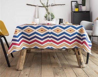 Colorful Wave Party Tablecloth / Housewarming Tablecloth / Geometric  Tablecloth / Picnic Table Cover / Kitchen