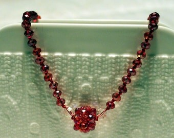 Beautiful beaded hand-knotted red necklace; beadweaving pendant at the center, red, white, cute, partywear, handmade