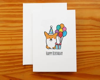 "Happy Birthday Corgi Greeting Card | 5x7"" Card with Envelope 