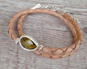 Emerald drop bracelet