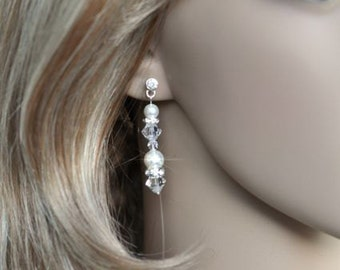 Handmade Swarovski Pearl and Crystal Dangle Bridal Earrings, Bridal, Wedding (Pearl-382-A)