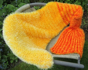 Mermaid merman tail blanket afghan. MADE TO ORDER. Crochet. Golden yellow and orange, silver and pale green, blue, pink, green.