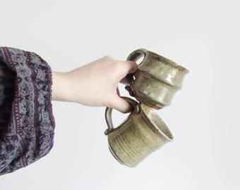 vintage stoneware mugs / earthy studio pottery mugs / handmade 70s ceramic coffee mug set / pair of 2