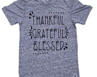 SALE* LARGE Unisex Tri-Blend T-Shirt Thankful Grateful Blessed