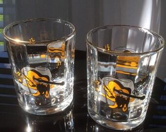 "Set 2 ""Nashville"" rocks glasses; Optic Glass Rocks Glasses"