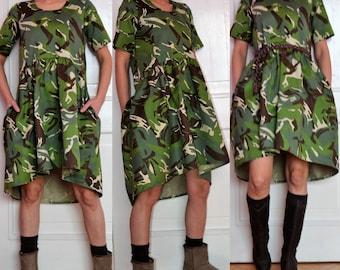 asymmetric loose dress, casual cotton dress, green pocket dress, oversize short dress, military print tunic, camouflage cotton, party dress