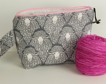 Grey and pink Sheep Medium Project bag