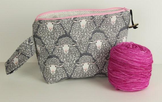 Grey and pink Sheep Medium Project bag