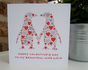 Personalised Kissing Penguins Valentines Card, Valentine's Card, Personalised Anniversary Card, Penguin Card,
