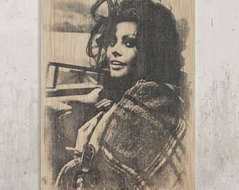 Sofia Loren - Italian actress, b & w / / Transfer on wood