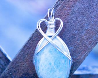 Amazonite pendant wrapped in non-tarnish silver