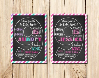9th Birthday Invitation Girl, Сhalkboard, ninth Birthday Invitation, Girl Birthday Invitation, Pink, Purple, Chalkboard