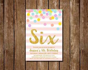 Girl 6th Birthday Invitation, Pink and Gold Sixth Birthday Invitation, 6th Birthday , Pink Invitation, Gold Invitation, Rainbow