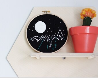 Hand Embroidery Hoop Art, Cabin in the Snowy Mountains at Night, Ready to Ship Hoop Art