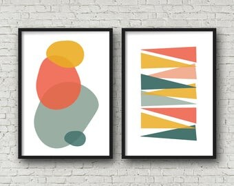 Large abstract art print poster set of 2 mid century modern big art posters 24x36 poster sized printable digital download midcentury art
