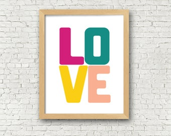 Love Art Print Love wall art Love printable Love digital art print bedroom decor girls bedroom wall art printable instant download love art