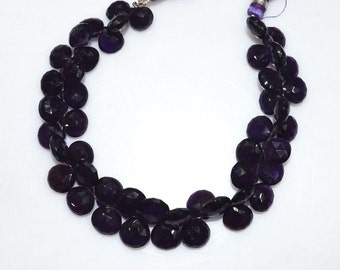"""Natural Amethyst Faceted Heart Shape Beads - Amethyst Heart Shape Briolette , Amethyst Briolette , 9x9-11.5x11.5 mm , 8"""" , BL2017"""