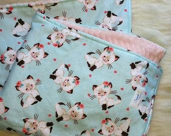 Kitten baby blanket, Kitty blanket, Toddler blanket, Plush baby blanket
