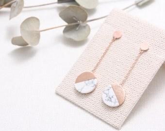 Semicircle White Howlite with Long Chain Stud Earrings, White Marble Dangling Drop Earrings